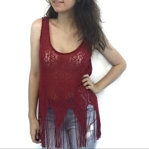 3/$25 Maurices Red Crochet Top with Fringe